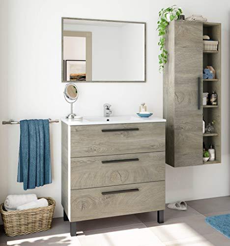 Miroytengo Pack baño Completo Color Roble Alaska Industrial (Mueble baño + Espejo + Columna) Lavabo CERÁMICO Incluido