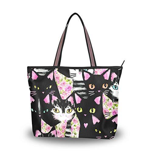 Ahomy Bolso de hombro con diseño de gato de dibujos animados para actividades al aire libre, gimnasio, senderismo, picnic, viajes, playa, color Multicolor, talla L