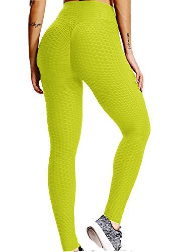 FITTOO Leggings Push Up Mujer Mallas Pantalones Deportivos Alta Cintura Elásticos Yoga Fitness AmarilloS