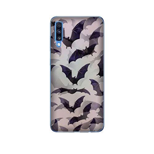 Funda Galaxy A70 Carcasa Samsung Galaxy A70 Víspera de Todos los Santos murciélagos / Cubierta Imprimir también en los lados / Cover Antideslizante Antideslizante Antiarañazos Resistente a golpes