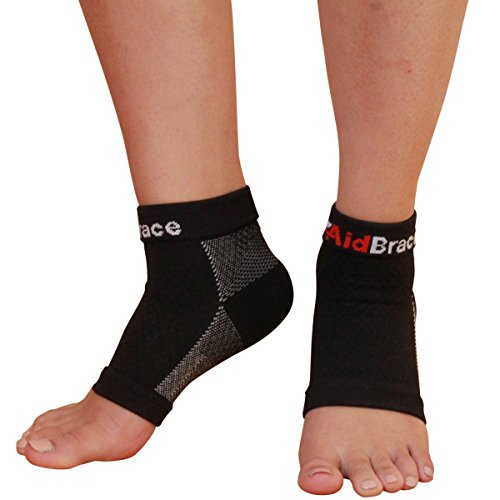 AidBrace Plantar Fasciitis Sleeves (Pair) - #1 Premium Quality Arch Compression Support Socks (Large) Large