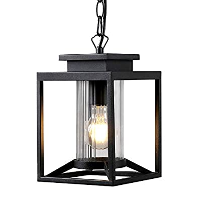 Osimir Outdoor Pendant Light, 1-Light Modern Outdoor Hanging Lantern with Adjustable Chain, Exterior Hanging Porch Light in Black Finish with Cylinder Glass, 2353/1H