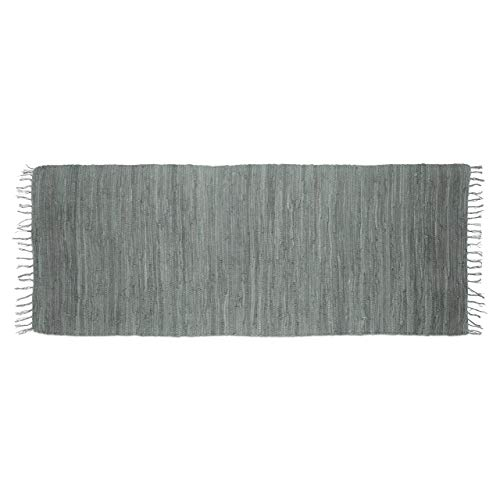 Relaxdays Tappeto/Stuoino Decorativo per la Casa Rifinito a Mano con Frange, Cotone, Grigio, 80 x 200 cm