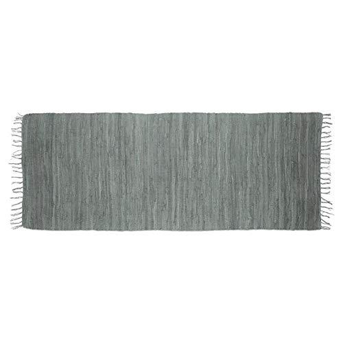 Relaxdays Alfombra de Pasillo con Flecos, Gris, 80 x 200 cm, 100% algodón, Color