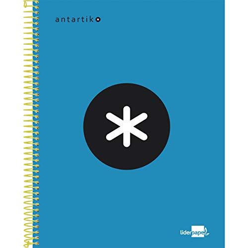 Liderpapel KD31 Cuaderno Espiral A5 Micro Antartik Tapa Forrada 120H 100 Gr Cuadro 5Mm 5 Bandas 6 Taladros Color Azul