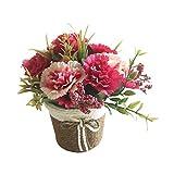 Gespout Fleurs Artificielle Vintage Simulation Oeillet Corbeille de Fleurs en Rotin Mariage Décoration d'intérieur Salon Table à Manger Chambre Bureau Ornement Faux Fleur Plante en Pot (Rose Rouge)