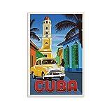 SHXI Vintage-Reise-Poster Kuba, Leinwand-Kunst-Poster und