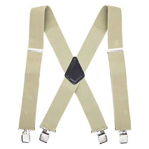 TB1 Tirantes para hombre Tirantes resistentes de 50 mm de ancho para hombres 4 clips X-Back Tirantes para hombre ajustables y...