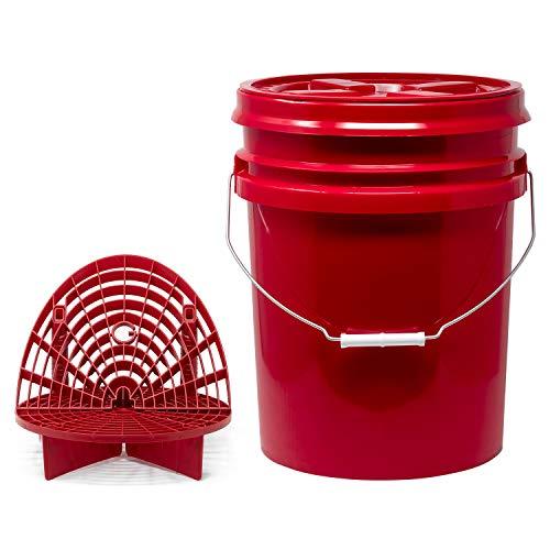 detailmate Roter Eimer Set - Grit Guard Wasch Eimer rot 5 Gal (ca19L) + GritGuard Schmutz Einsatz + Waschboard + Gamma Seal Deckel