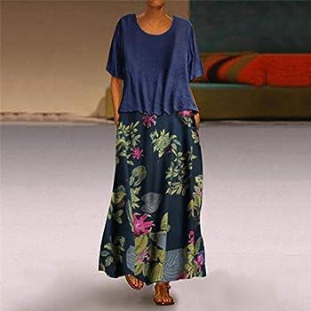 Grandes Tailles Femmes Robe Vintage Floral Imprimé Col Rond Manches Courtes Patchwork Lin Flowy Robe D'Été Décontracté Plage Partie Maxi Robes - Bleu - M