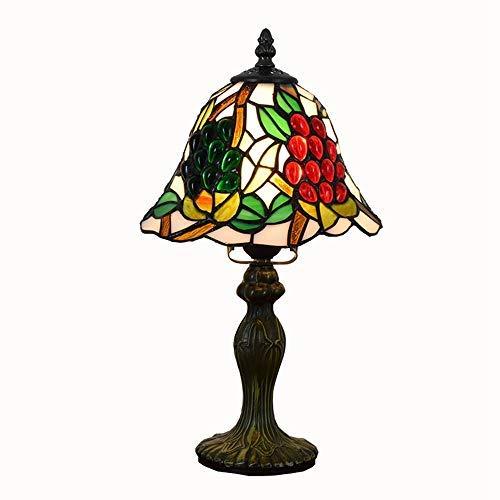 WTTWW Buntglas Tiffany-Stil Tischlampe 8-Zoll-Schreibtischlampe for Schlafzimmer Bar Tiffany-Buntglas Grape kreative Persönlichkeit rote Perle sbedside kleine Tischlampe