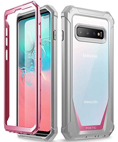 Poetic Galaxy S10 Plus Rugged Clear Case, Full-Body Hybrid Bumper Cover, Support Wireless Charging, Without Built-in-Screen Protector, Guardian Series, Case for Samsung Galaxy S10 Plus 2019, Pink