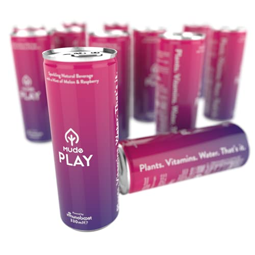 MUDE Play Bevanda energetica naturale,MUDE Play Natural Energy Drink, con un pizzico di melone e lampone, tè verde, BCAA, vegano e bevanda senza glutine, 330 ml (confezione da 12)