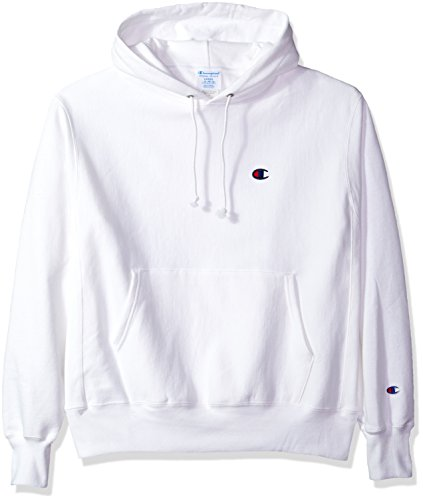 Champion LIFE Men's Reverse Weave Pullover Hoodie, White/Left Chest C Logo, Medium
