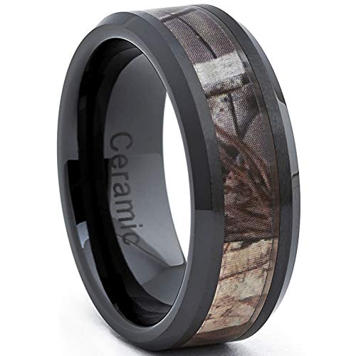 Metal Masters Co. Black Ceramic Men's Hunting Camo Ring, Comfort Fit Band, 8mm Size 11