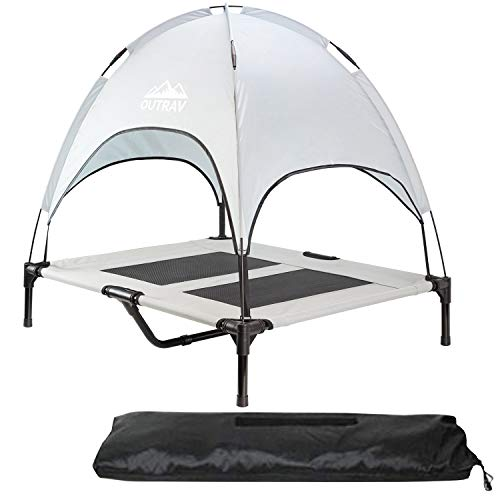 Pet Cot with Canopy Shade Tent & Carry Along Travel Bag – Portable Foldable Indoor Outdoor Cooling Elevated Dog Bed with Removable Pop Up Sunshade Dome Gazebo Awning, Large or XL – Gray Medium