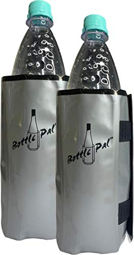Set 2 Flexible Premium Flaschenkühler/Wärmer Getränke Erfrischer Kühlmanschette von Biomark mit Klettverschluss zum Kühlen oder Wärmen von Flaschen Grau Silber (Grau, Plastik)