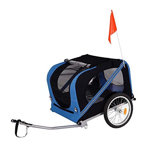 dibea Remolque de Bicicleta para Perros, Incluye Enganche de Remolque y Cinturones de Seguridad, Color Azul y Negro
