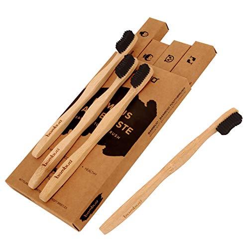 Bambuo Bambus Zahnbürste im 4er Pack mit Aktivkohle Naturborsten (100% vegan und BPA-frei)