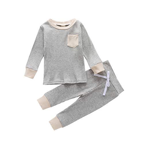 Voydsunflower - Conjunto de 2 piezas de pantalones y camiseta de manga larga de punto lisos para bebés, unisex - - 18-24 meses