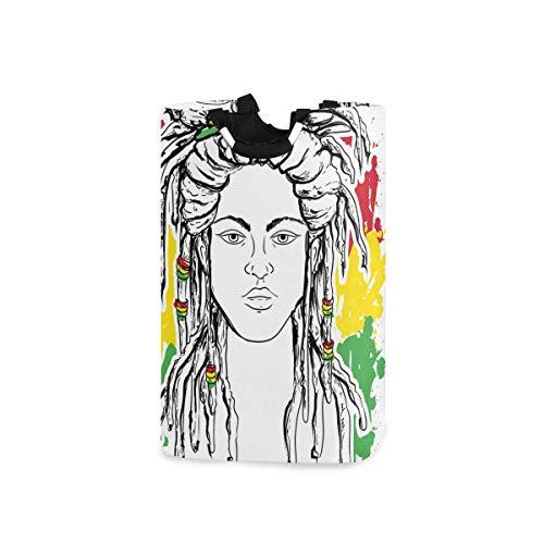 ZOMOY Multifunktionale Faltbarer Schmutzige Kleidung Wäschekorb,Rasta Grunge Flag Farben Reggae Print,Household Wäschebox Spielzeug Organizer Aufbewahrungsbeutel mit Henkel