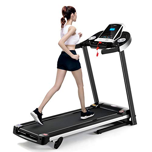 Fnova Folding Treadmill Running Machine, ElectricMotorised Treadmill with LCD Display, 3 Incline Levels, 12 Programs, 1.0-12.0km/h, for Home Gym Exercise Fitness Machine