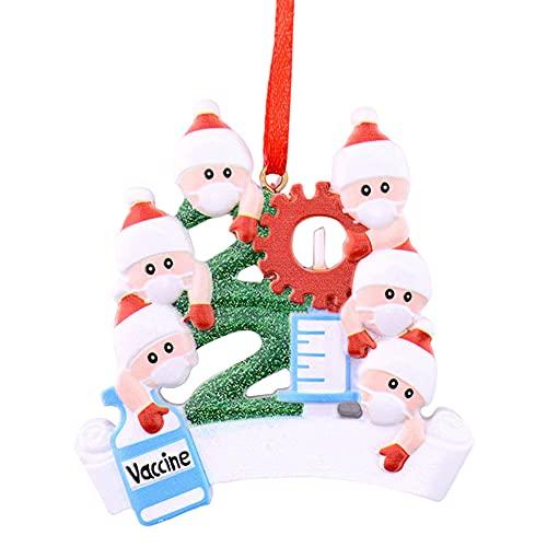 Adornos de árboles de Navidad, Adornos de árboles de Navidad Personalizados DIY Sobrevivido Familia Familia Cubierta Colgantes Colgantes Decoración con Cuerda (6 Santa)