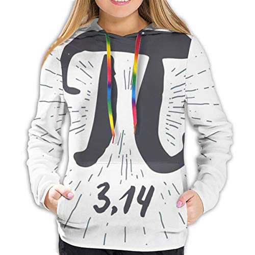 Women's Hoodies Tops,Hand Drawn Look Grunge Design Math Themed Number Icon with Lines Image,Lady Fashion Casual Sweatshirt(XL)