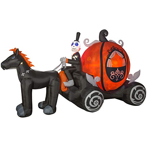 Halloween Inflatable Skeleton Horse Driven Pumpkin Carriage
