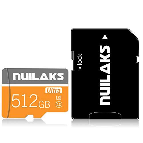 Micro-SD-Speicherkarte, 512 GB, Klasse 10, Hochgeschwindigkeits-MicroSD-Karte mit Adapter für Kamera, Telefon, Computer, Dashcame, Fahrtenschreiber, Tablet, Drohne