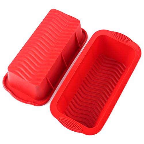 Bread Loaf Pan 2-Pack, Aichoof Silicone Cake Baking Mold Non-slip hand design Non-Stick Loaf Pan-Red