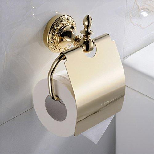 BigBig Home Toilettenpapierhalter Gold mit Deckel, Klorollenhalter Modern aus Messing für Badezimmer und Küche, Papierrollenhalter Wasserdicht mit Wandmontage