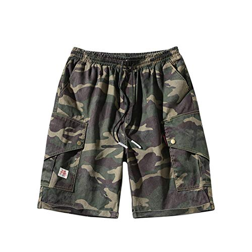 Hombre Bermudas Cargo Pantalón Cortos de Verano Militares Camuflaje Pantalones Cortos de Trabajo