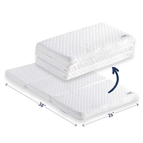 Tri-fold Pack n Play Mattress Pad with Firm (for Babies) & Soft (Toddlers) Sides | Portable Foldable Playard Mattress, Playpen Mattress for Pack and Play Crib | Includes Carry Case