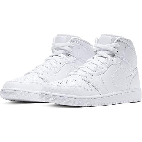 Nike Air Jordan 1 Mid, Zapatillas de básquetbol para Hombre, White White White, 45 EU