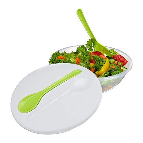 Relaxdays 10024703, weiß-grün Salatschüssel To Go, Salatbehälter mit Deckel & Besteck, Salatdose Kunststoff, H x D 9,5 x 28 cm