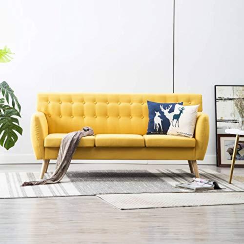 Festnight- 3-Sitzer-Sofa | 3er Stoff Couch | Wohnzimmer Stoffsofa | Polstersofa | Loungesofa | Dunkelgrau/Braun/Gelb/Grün/Hellgrau Stoffbezug 172x70x82 cm