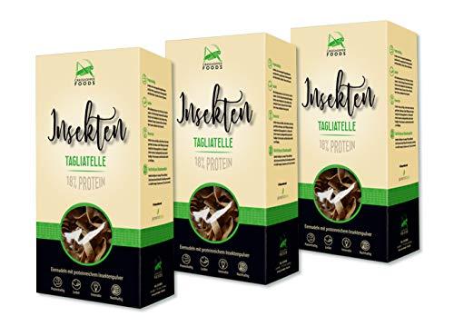 Grasshopper Foods, 3er Set Insekten Tagliatelle, Insektenpasta, Eiernudeln mit proteinreichem Insektenpulver ( 3 x 250 g)