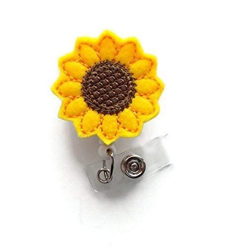 Sunflower Badge Reel Alligator Swivel Clip - Retractable Id Felt Badge Holder - Name Badge Holder - Cute Badge Reel - Nursing Badge Reel - Gifts for Women - Flower Badge Clip - Nurse Gifts