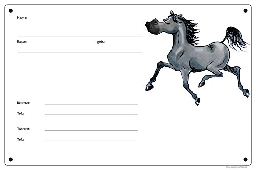 Boxenschild/Stalltafel Angeber (Vollblut/Araber/Warmblut/Pony) Rappe