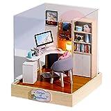 Casa de muñecas, casa de muñecas en miniatura de madera Sala de Estudio Conjunto con caja a prueba de polvo. Bricolaje mano Estantería Escritorio Kits de ordenador, hogar de Escritorio adornos
