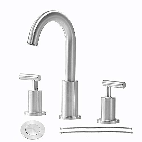 Comllen Modern Commercial 2 Handle 3 Hole Brushed Nickel 8 Inch Lavatory Widespread Bathroom Faucet, Laundry Basin Vanity Bathroom Sink Faucet with Pop Up Drain and Water Supply Lines