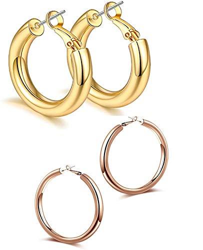 2 pares de pendientes de aro gruesos de 14K para mujer, bonitos pendientes hipoalergénicos de moda, regalo de joyería minimalista