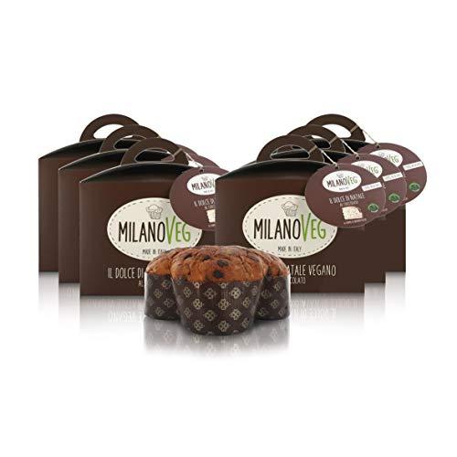 Vergani Dolce di Natale Vegano/Panettone 100% Vegetale con Gocce di Cioccolato Fondente, MilanoVeg - Confezione 6 Pezzi