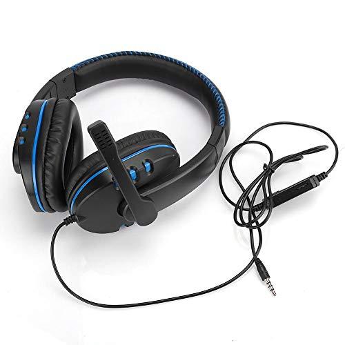Head-Mounted Computer Gaming Kopfhörer-Headset Hohe Leistung für PS4, 50-mm-Subwoofer-Schwingspulenlautsprecher, Mikrofon 36 dB(Schwarz Blau)
