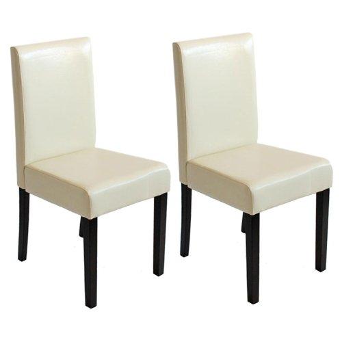 Mendler 2X Esszimmerstuhl Stuhl Küchenstuhl Littau ~ Kunstleder, Creme, dunkle Beine