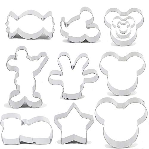 BakingWorld Mouse Cookie Cutter Set - 11pcs - Mouse Head,Ears,Side Face,Hand,Star,Candy and Shoes Cartoon Shape Fondant Biscuit Cutters Mold - Stainless Steel
