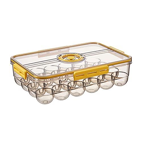 Recipiente de Huevos Soporte de Huevos para Nevera Caja de Huevos Portátil Bandejas de Almacenamiento de Huevos Apilables Transparentes con Tapa para Gabinete de Cocina