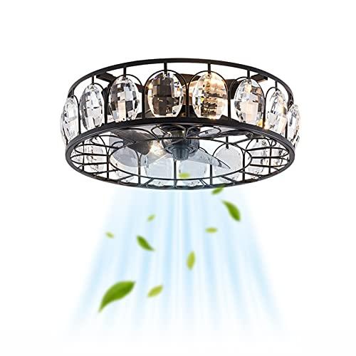 Industrial Ventilador Lámpara de Techo Retro E27 Silencio Ventilador de Techo ConIluminación & Control Remoto 3 Velocidades del Viento Redondo Fan Luz de Techo Cuarto Sala de Estar Comedor Negro