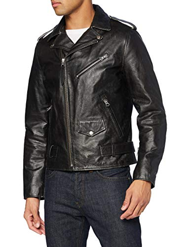 Schott nyc LCPERFVINT Leather Jacket, Black, Small Mens
